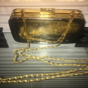 Gold faux alligator with jeweled clasp EUC